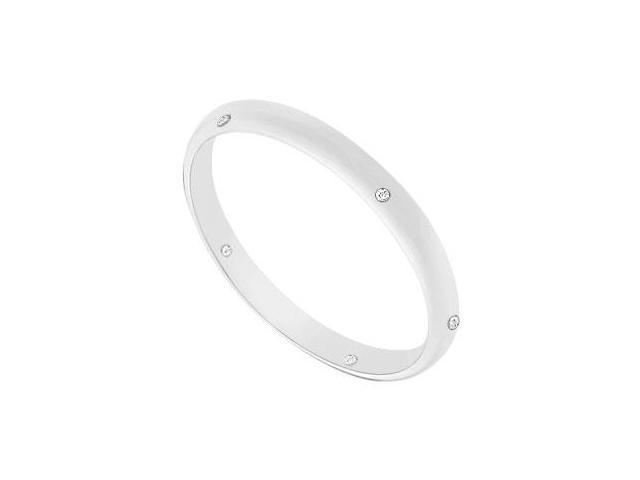 2MM Half Round Wedding Band with Diamonds  14K White Gold - 0.05 CT TDW