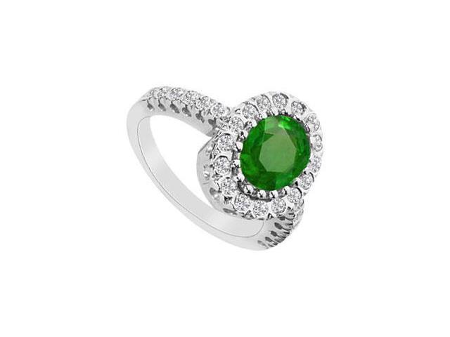 Frosted Emerald Fine Ring in 10K White Gold with Cubiz Zirconia 2.50 Carat TGW