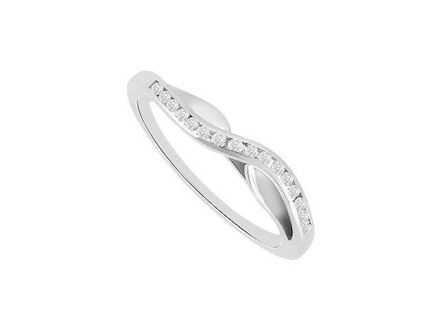 Channel set Diamond Curve Wedding Band 14K White Gold 0.25 CT Diamonds