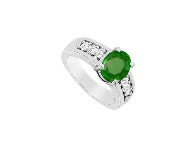 Frosted Emerald Fashion Ring with Cubic Zirconia in 10K White Gold 1.50 Carat TGW