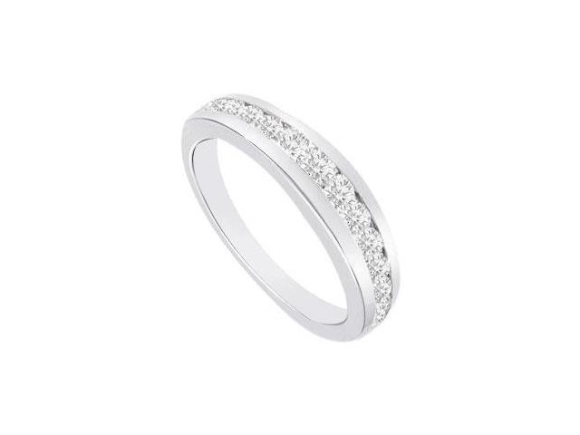 Diamond Half Eternity Channel set Wedding Band 14K White Gold 0.65 CT Diamonds