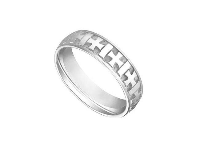 6MM Comfort Fit Fancy Cross Wedding Band  14K White Gold