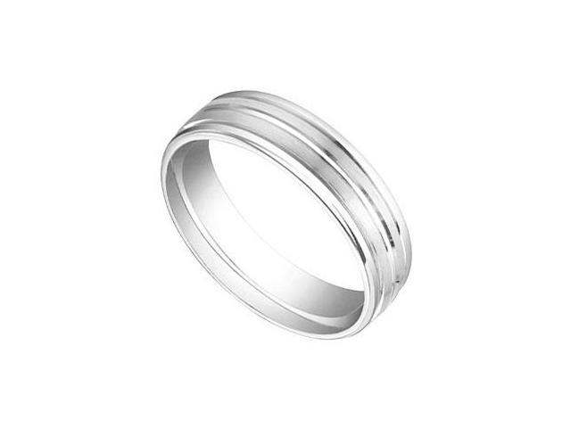 6MM Comfort Fit Fancy Groove Wedding Band  14K White Gold