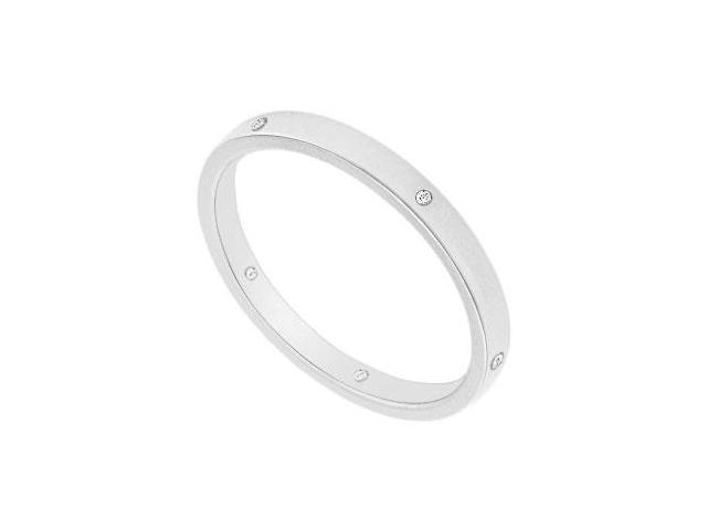 2MM Flat Wedding Band with Diamonds  14K White Gold - 0.05 CT TDW