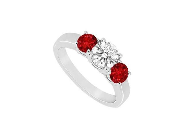 Three Stone Ruby and Diamond Ring  14K White Gold - 0.75 CT TGW