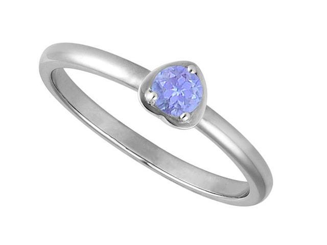 One Carat Reconstituted Tanzanite in White Gold 14K Heart Fashion Ring