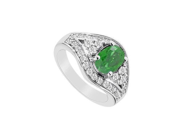 Frosted Emerald and Cubic Zirconia Ring with 2.00 Carats TGW in 10K White Gold