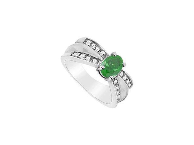 Oval Frosted Emerald Ring in 10K White Gold with Cubic Zirconia 1.75 Carat TGW