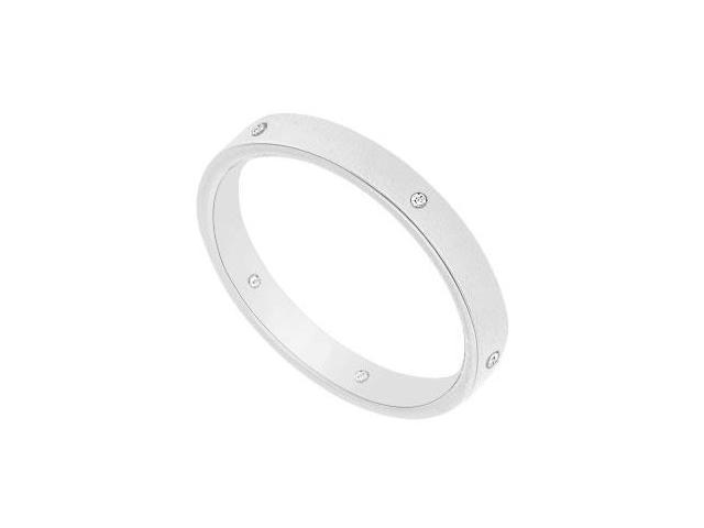 2.5MM Flat Wedding Band with Diamonds  14K White Gold - 0.05 CT TDW