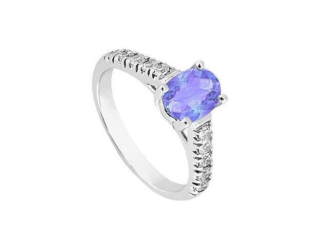 Simulated Tanzanite Fashion Ring with Side Triple AAA Quality CZ in 14K White Gold 1 Carat
