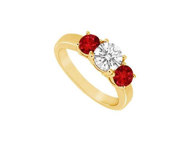 Three Stone Ruby and Diamond Ring  14K Yellow Gold - 1.00 CT TGW