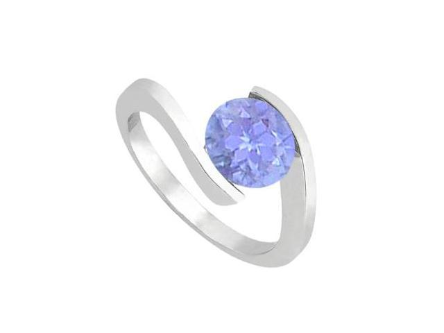 14K White Gold Fashion Tanzanite Solitaire Ring of One Carat Total Gem Weight