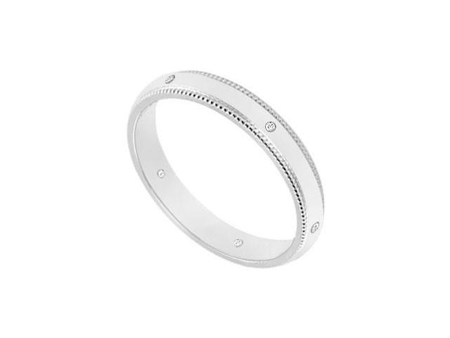 2.5MM Milgrain Wedding Band with Diamonds  14K White Gold - 0.05 CT TDW