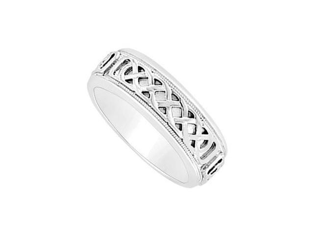 7MM Comfort Fit Fancy Knot Engraved Wedding Band  14K White Gold