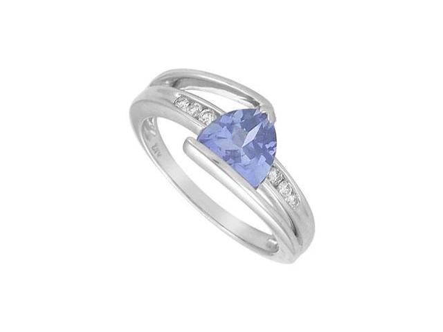 Created Tanzanite and Diamond Ring  14K White Gold - 1.25 CT TGW