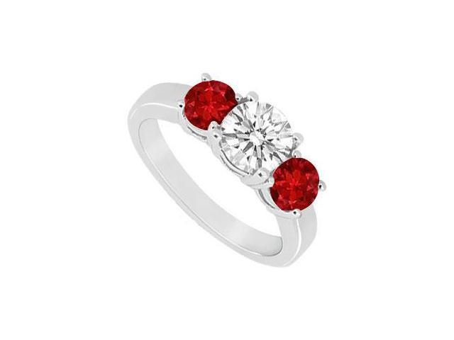 Three Stone Ruby and Diamond Ring  14K White Gold - 1.25 CT TGW