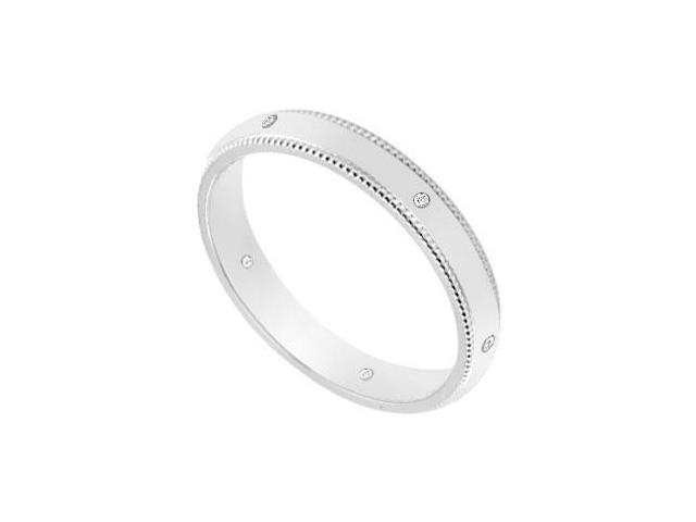 3MM Milgrain Wedding Band with Diamonds  14K White Gold - 0.05 CT TDW