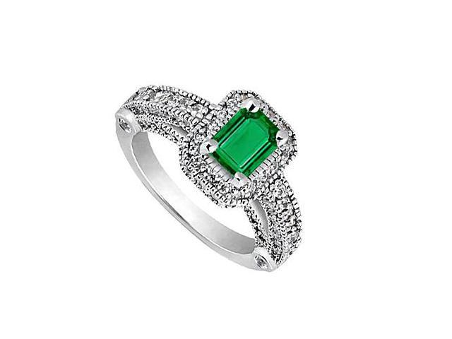 14K White Gold Milgrain Ring Simulated Green Emerald and CZ 3.30 Carat Total Gem Weight