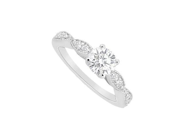 Engagement Ring Cubic Zirconia in 14K White Gold with 1.25 Carat TGW