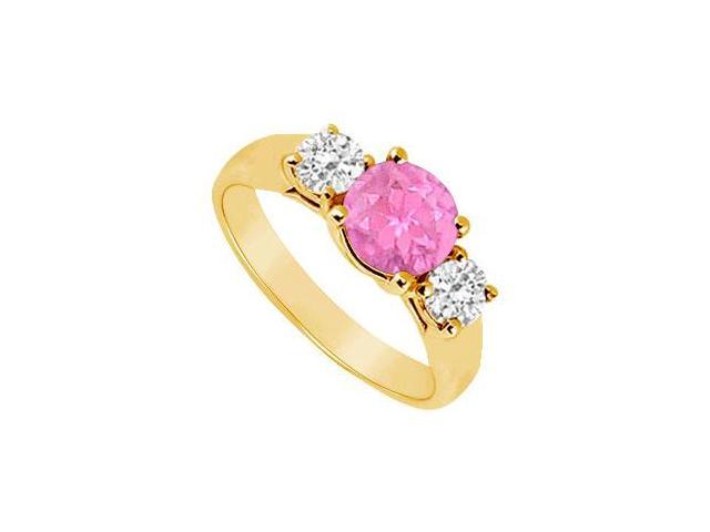 Three Stone Pink Sapphire and Diamond Ring  14K Yellow Gold - 0.50 TGW