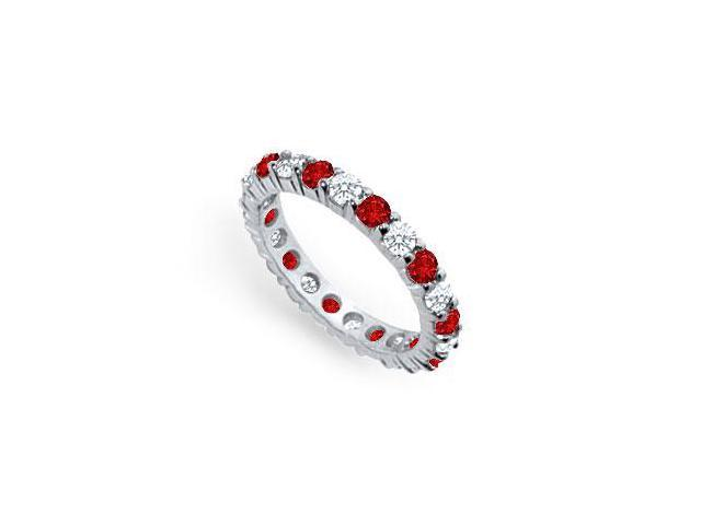Diamond and Ruby Eternity Band  Platinum  2.00 CT TGW