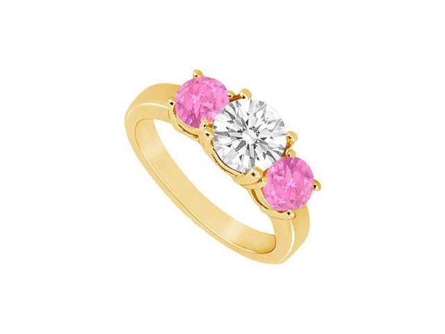 Three Stone Pink Sapphire and Diamond Ring  14K Yellow Gold - 1.50 CT TGW