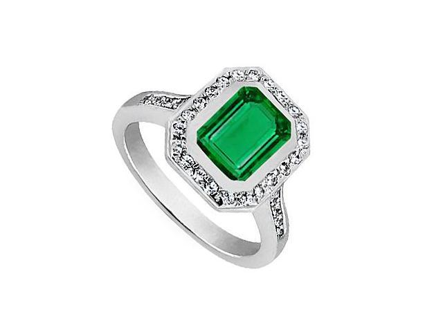 Stylish Ring in 14K White Gold Reconstituted Emerald Cut Green Emerald and CZ 2.50 Carat TGW