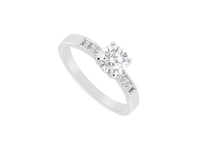 14K White Gold Princess Cut and Round Cubic Zirconia Engagement Ring with 1.10 Carat TGW