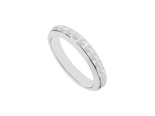 Diamond Bezel Set Semi Eternity Wedding Band 14K White Gold 0.50 CT Diamonds