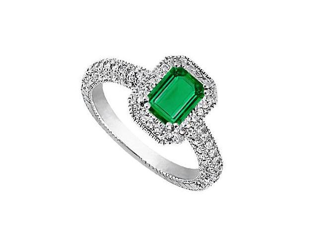 14K White Gold Emerald Cut Simulated Emerald and CZ Ring 2.50 Carat Total Gem Weight