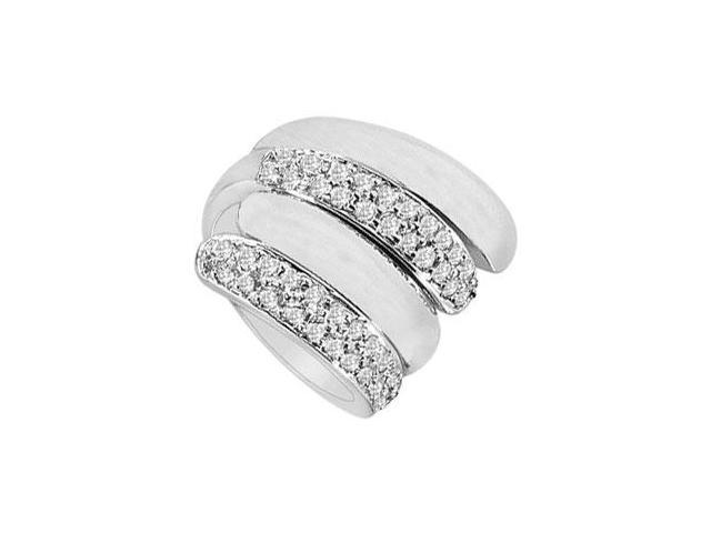 Diamond By-pass Ring  14K White Gold - 1.00 CT Diamonds