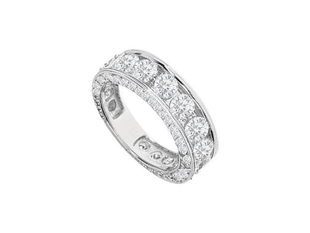 Diamond Channel Set Eternity Wedding Band 14K White Gold 4.15 CT Diamonds