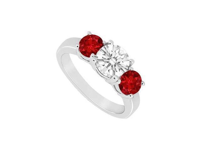 Three Stone Ruby and Diamond Ring  14K White Gold - 1.50 CT TGW