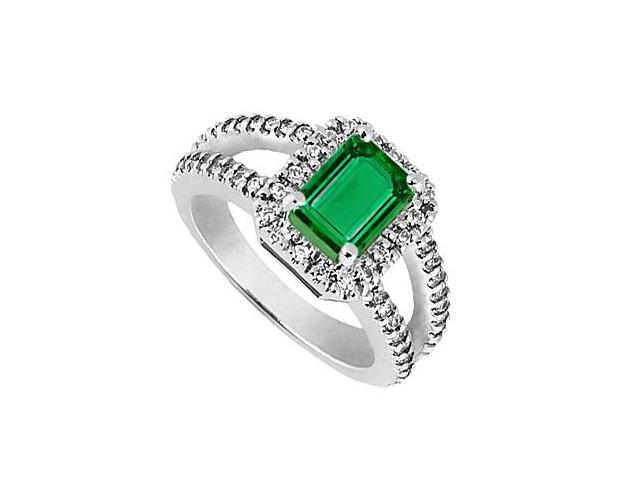 CZ and Reconstituted Emerald Cut Emerald Ring in White Gold 14K Total Gem Weight of 2.25 Carat
