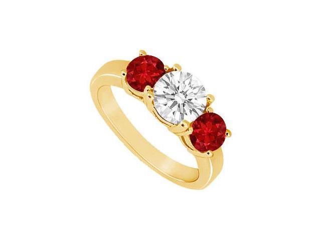 Three Stone Ruby and Diamond Ring  14K Yellow Gold - 1.50 CT TGW