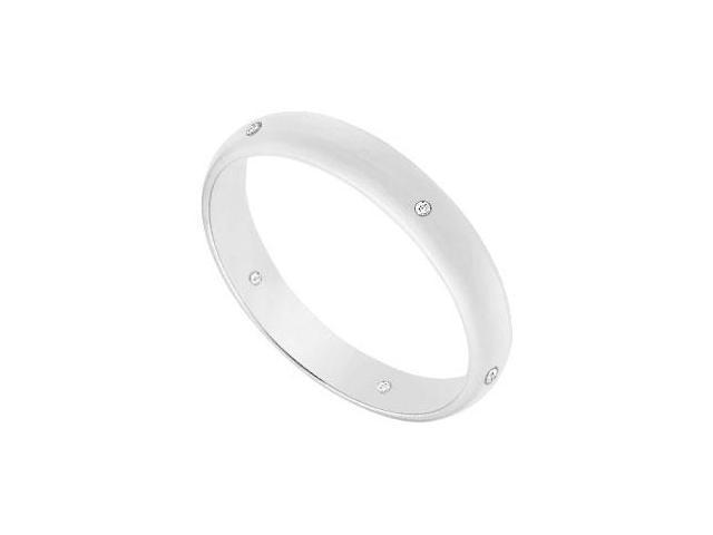 3MM Half Round Wedding Band with Diamonds  14K White Gold - 0.05 CT TDW