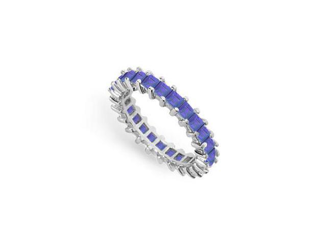Blue Sapphire Eternity Band  14K White Gold  3.00 CT TGW