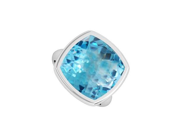 3 Carat Blue Topaz Cushion Fashion Ring in 14K White Gold Bezel Setting