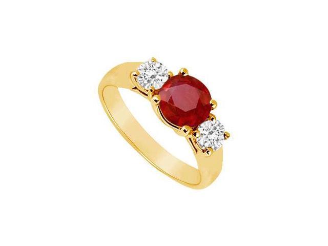 Three Stone Ruby and Diamond Ring  14K Yellow Gold - 0.50 CT TGW