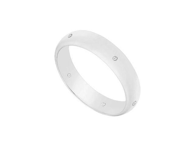 4MM Half Round Wedding Band with Diamonds  14K White Gold - 0.05 CT TDW
