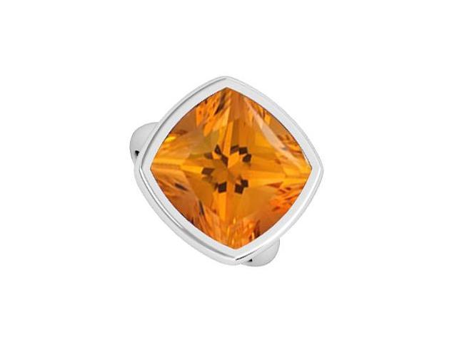 Polished Ring in 14K White Gold Bezel Set Big Citrine Cushion of 3 Carat Total Gem Weight