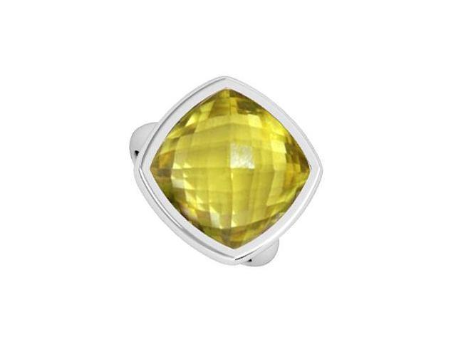 Lemon Quartz Ring in Cushion Cut 3 Carat in 14K White Gold Bezel Setting