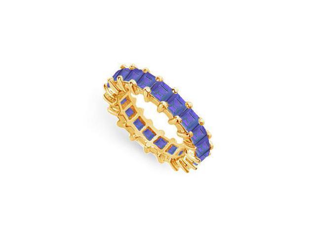 Blue Sapphire Eternity Band  14K Yellow Gold  4.00 CT TGW