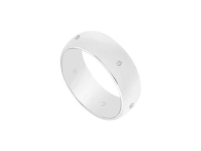 6MM Half Round Wedding Band with Diamonds  14K White Gold - 0.05 CT TDW