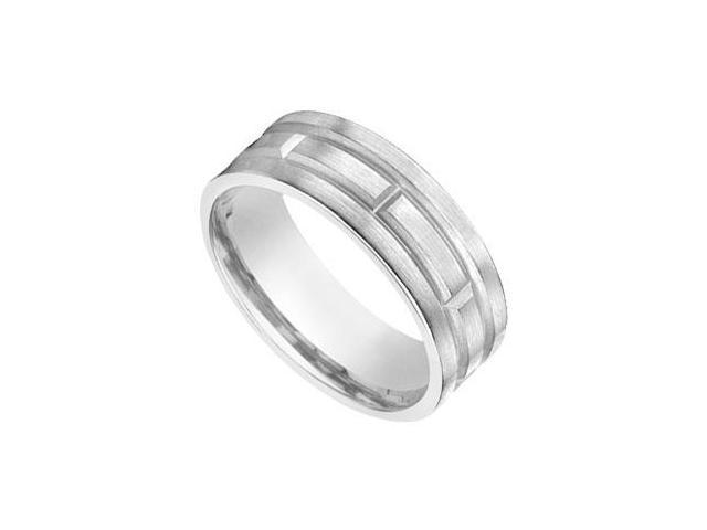 8MM  Comfort Fit Fancy Wedding Band  14K White Gold
