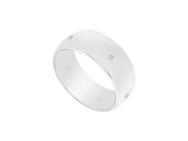 7MM Half Round Wedding Band with Diamonds  14K White Gold - 0.05 CT TDW