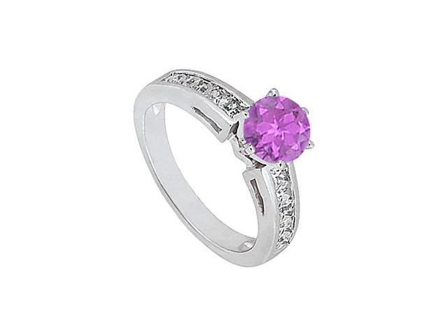 14K White Gold Amethyst Engagement Ring with Diamond Princess Cut of 1.50 Carat Totaling