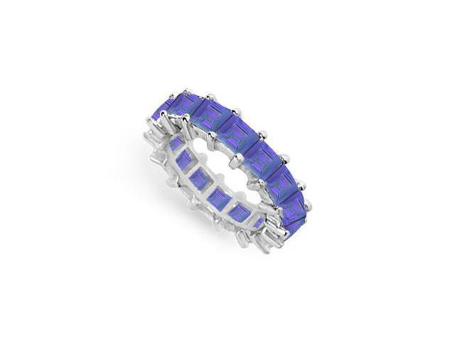 Blue Sapphire Eternity Band  14K White Gold  5.00 CT TGW