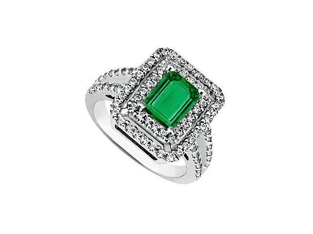 Emerald Cut Simulated Emerald and CZ 14K White Gold Ring 2.30 Carat Total Gem Weight