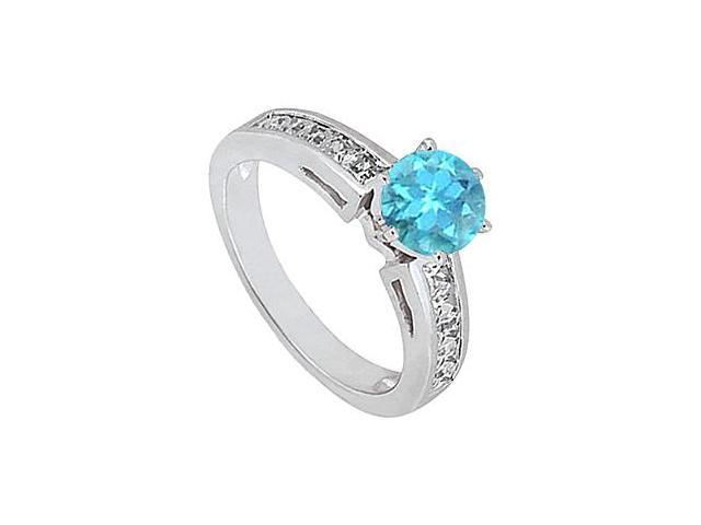 Diamond Princess Cut and Blue Topaz Engagement Ring 1.50 Carat Totaling  in 14K White Gold